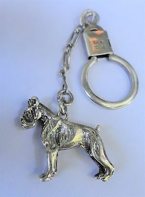 Vintage Hallmarked Solid Sterling Silver Keyring with Bulldog Fob / Key Chain