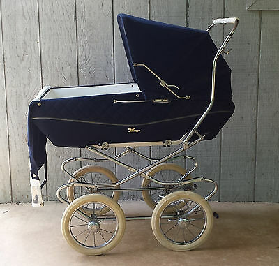 Perego Vintage 1970's Baby Carriage/Stroller Combo, Navy, made in Italy
