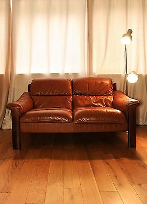 Ulferts of Sweden Mid Century Beech Framed Brown leather two seater sofa - 1960'