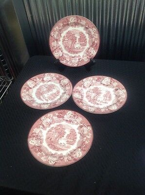 "4 Enoch Woods English Scenery Pink 8"" Plates by Wood & Sons"