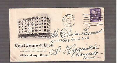 Usa 1950 Advertising Cover, Hotel Ponce De Leon, Florida !!