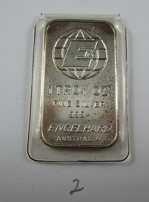 Original 1oz ENGELHARD AUSTRALIA silver bar in issued plastic sleeve - Item No 2