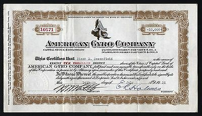 1932 Early Aviation: American Gyro Company (Colorado) - 10,000 shares