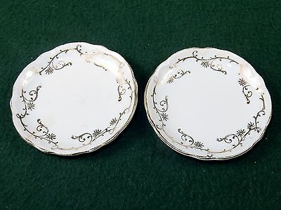 Vintage Porcelain Butter Pats, Set of 2 ~ Golden Vines Pattern, No Mark, #BP-03