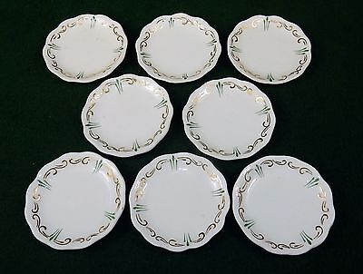 Vintage Porcelain Butter Pats, Set of 8 ~ Green & Gold Accents, No Mark, #BP-06