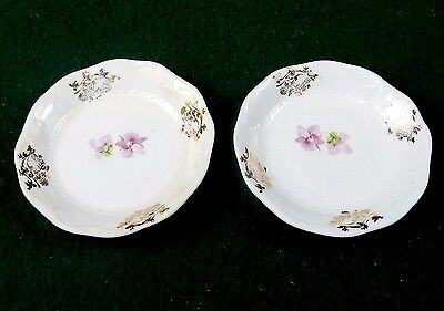 Vintage Porcelain Butter Pats, Set of 2 ~ Gold Flowers Pattern, No Mark, #BP-04