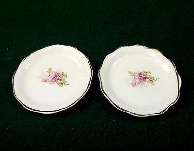 Vintage Porcelain Butter Pats, Set of 2 ~ Pink Floral Pattern, No Mark, #BP-01