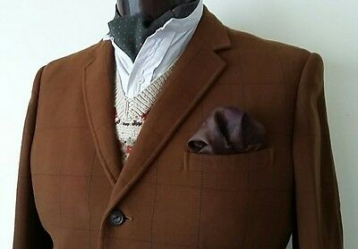 Bespoke Vintage Windowpane Tweed Jacket Coleman Bond St 41S Tobacco Brown 1960's