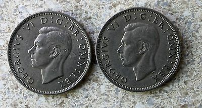 Lot of Two Great Britain 2 Shilling Florin Coins 1947 1948 KM#865 Shamrock XF