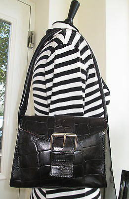 Authentic Vintage Mulberry Black Congo Leather Diana Shoulder Hand Bag
