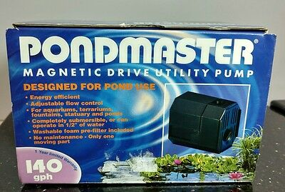 NEW Pondmaster Fountain-Mag 140 GPH Magnetic Drive Submersible Fountain Pump