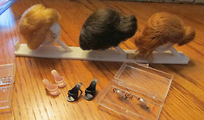 Vintage Midge Hair Wigs (Set of 3) PLUS 2 pair Heels Shoes & Earrings