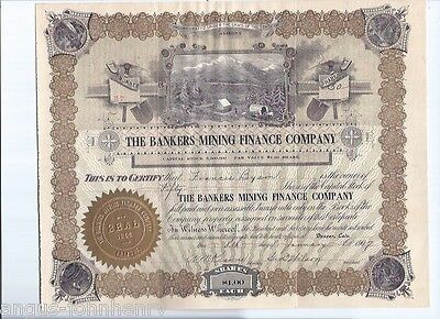 1907 BANKERS MINING FINANCE COMPANY inc. ARIZONA STOCK CERTIFICATE #37