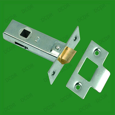 2x 65mm BZP Internal Sprung Catch Tubular Mortice Door Lever Handle Latch