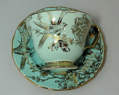 222 Fifth Tea Cup and Saucer - Blue / Gold Floral Birds Porcelain Fine China
