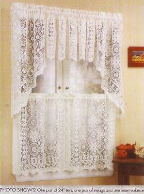 Hopewell Lace Kitchen Curtain Panels , Tiers and Valances