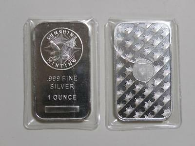 1 oz Silver Bar - Sunshine Minting w/ Mint Mark SI - One Ounce 999