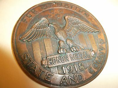 WW1 1918 LOCAL ISSUE SERVICE HONOR MEDAL - Nelson County North Dakota - Named