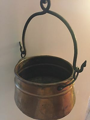 Vintage COPPER P0T With Wrought Iron Handles Dovetails & Hook for Hanging NICE!