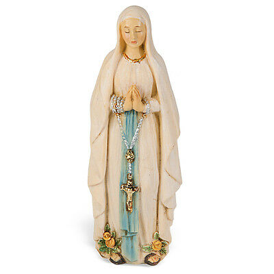 Statue Mary Our Lady Lourdes 4 inch Painted Resin Figurine Patron Catholic Boxed