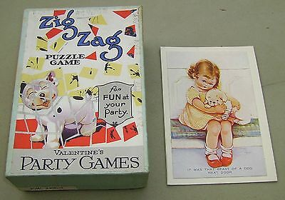 1930's  Mabel Lucie Attwell Zig Zag Puzzle Game Valentine's jigsaw party game