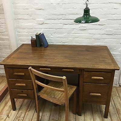 Industrial Vintage Antique Twin Pedestal Teachers School Desk