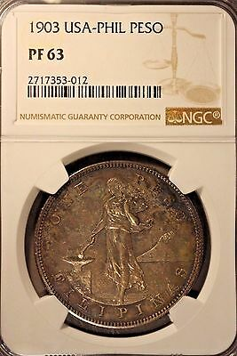 1903 Philippines USA Silver Peso Proof, NGC PF 63 Toned ** FREE U.S SHIPPING**