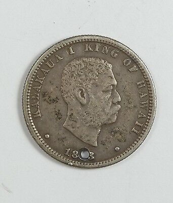 BARGAIN 1883 KINGDOM OF HAWAII King KaIakaua Silver Quarter EXTRA FINE 25c