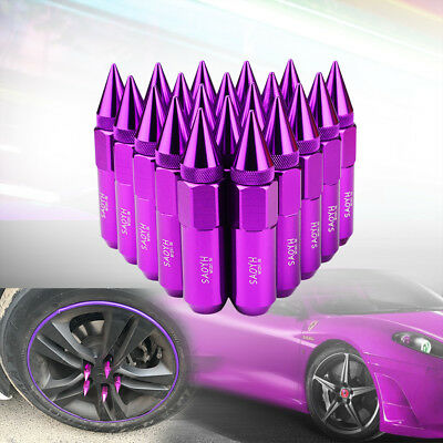 20pcs purpl 60mm Extended Lug Nuts Aluminum Spike Tuner For Wheels Rims M12X1.5