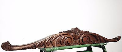 Hand Carved Wood Pediment Antique French  Salvaged Mount Cornice Crest Trim