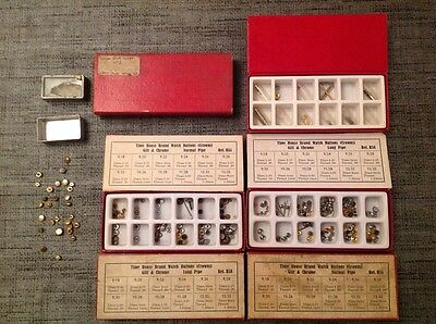 Vintage Watch Buttons Crowns 150+ Incl Omega Spare Parts ex Watchmakers Supplies