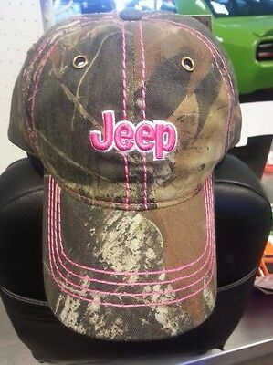 New With Tags Ladies Jeep Mossy Oak Camo Hat With Pink Stitching!