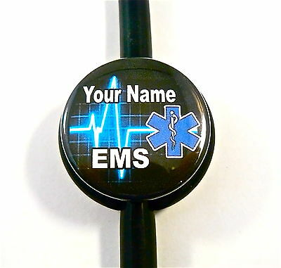 Id Stethoscope Name Tag, Ems/star Of Life,emt,heartbeat,medical,ambulance,er