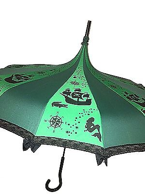 Never Grow Up fairy Tale Themed Umbrella / Parasol Green & Black with lace and b