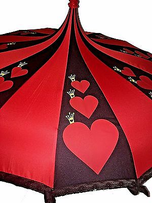 Card Queen Fairy tale Themed Umbrella / Parasol Red & Black Pagoda shaped with l