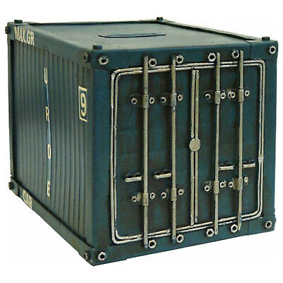 Vintage Style - Blue Cargo Container Money Box - Metal Coin Bank