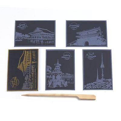 Scratch Picture World City Night View Creative Postcard 5 in 1 Set with Tool ADU