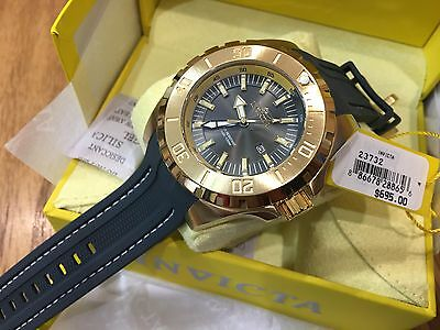 23732 Invicta Pro Diver Quartz 52mm Men's Grey Dial Gold-Plated Case Strap Watch