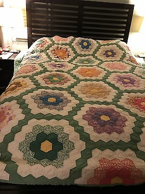 "Antique Grandmothers Flower Garden Quilt Cheddar 11 Spi 88"" X 84"""