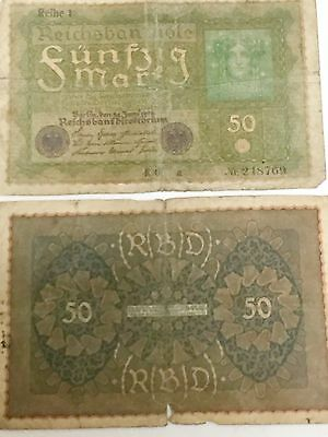 Currency Germany 1919 Reich Banknote 50 Funfzig Mark Circulated lot of 2