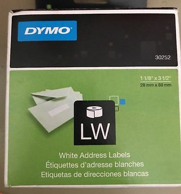 "Dymo 30252 Address Labels - 1.12"" X 3.5"" 2 Roll Label White  OEM"