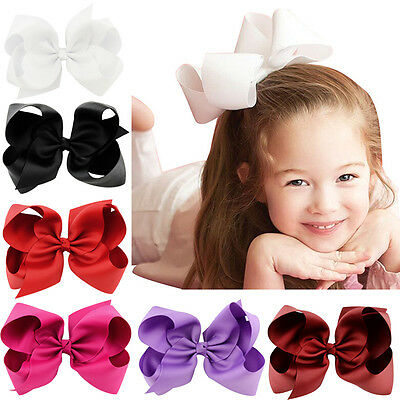 Girl Kids Big Bows Boutique Hair Clip Pin Alligator Clips Grosgrain Ribbon Bow