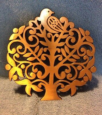 Vintage Cast Iron Copper Plated Trivet Partridge In A Pear Tree.