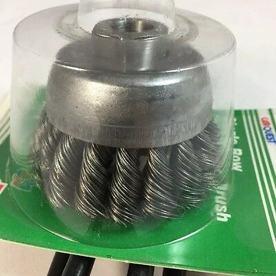 """New USA 3"""" KNOTTED CUP BRUSH  WIRE WHEEL Single Row 1/2"""" 13 Arbor ANGLE GRINDER"""