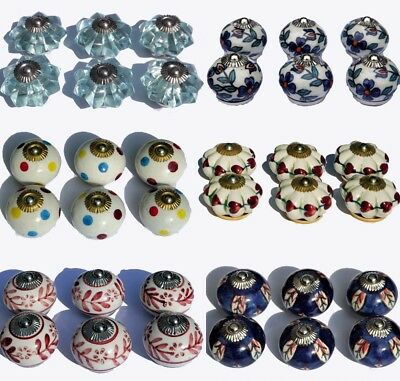 Vintage Ceramic Glass Knobs Drawer Door Pulls Artisan Shabby Chic x 6