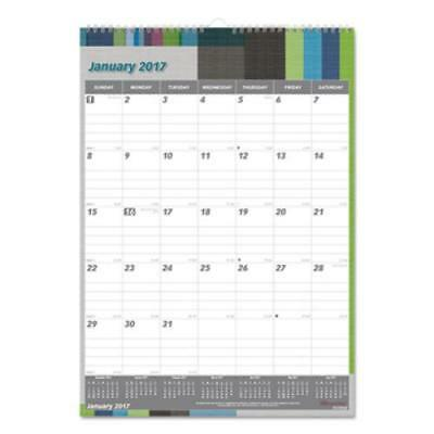 Rediform C173122 One Month Per Page Twin Wirebound Wall Calendar, Geometric, 12