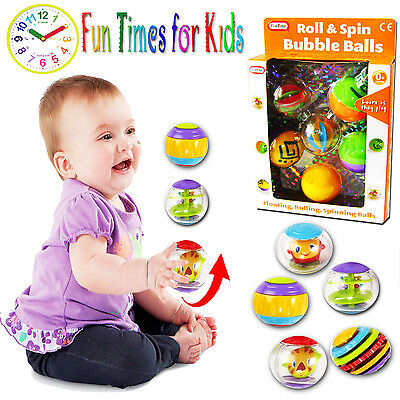 New 5Pc Roll & Spin Bubble Balls Bath Time Activity Floating Toddler Fun Toy Box