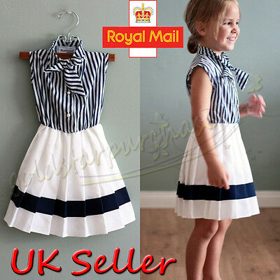 UK Stock Toddler Kids Girls Navy Stripe Sundress Summer Party Dress Clothes 2-7Y