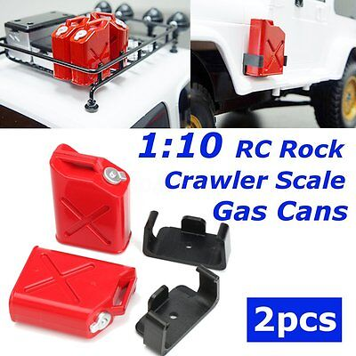 2Pcs Red Gas Cans with Black Brackets for 1:10 RC Rock Crawler Scale Accessory