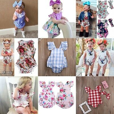 AU Infant Baby Floral Romper Jumpsuit Bodysuit Baby Girl Tassels Outfits Clothes